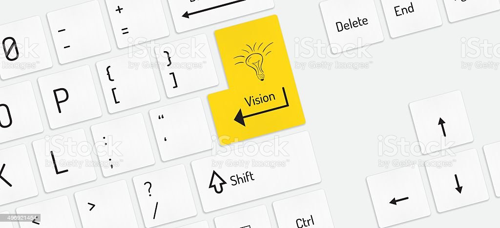 white keyboard with vision key vector art illustration