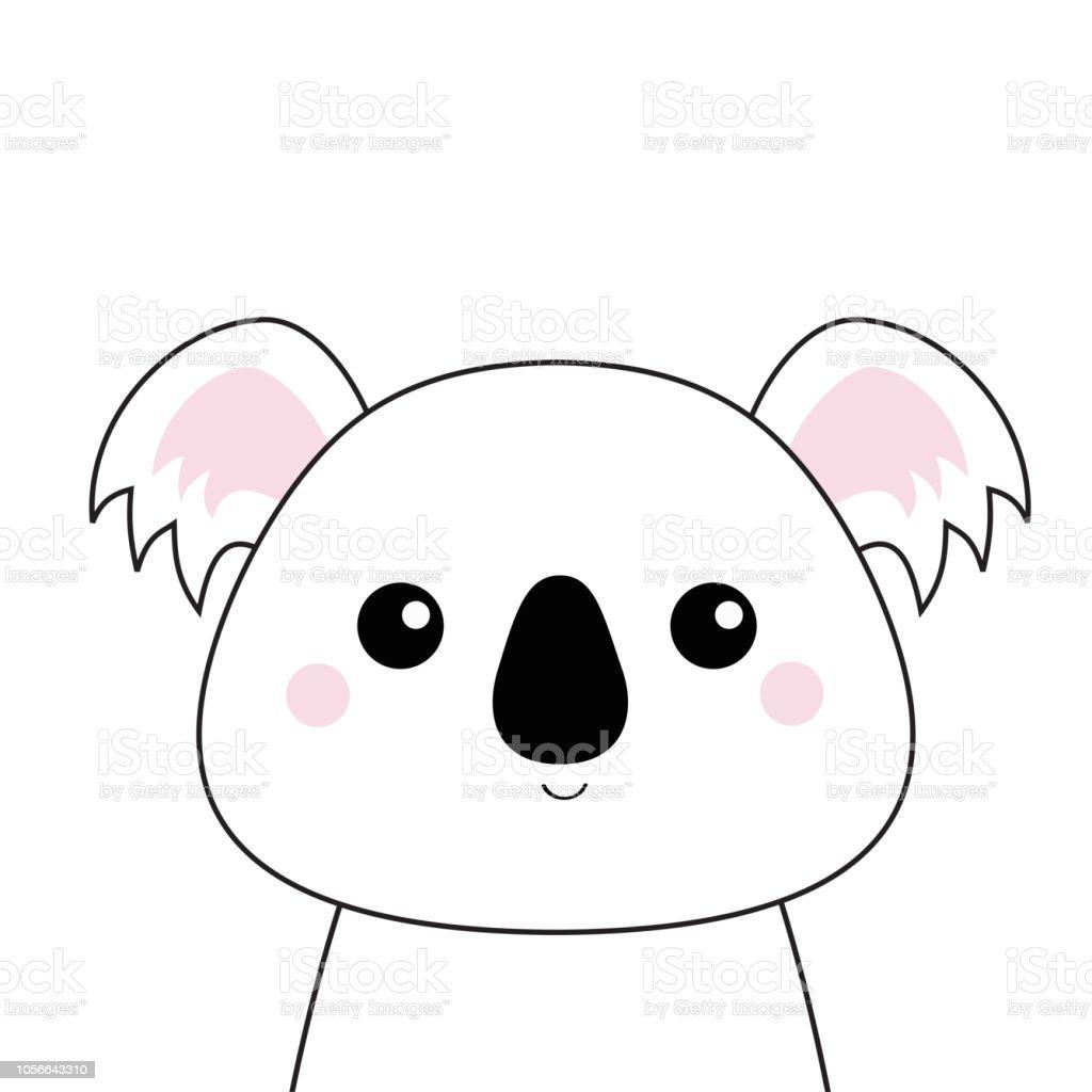 Koala Blanc Visage Silhouette De Contour Noir Kawaii Animal
