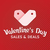 White label sale shaped heart on a red background. st. Valentines Day. Sale and deals.