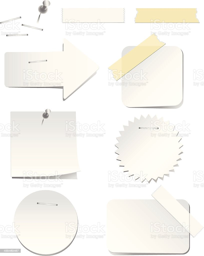white labels with staples and tape stock vector art 455460467 istock