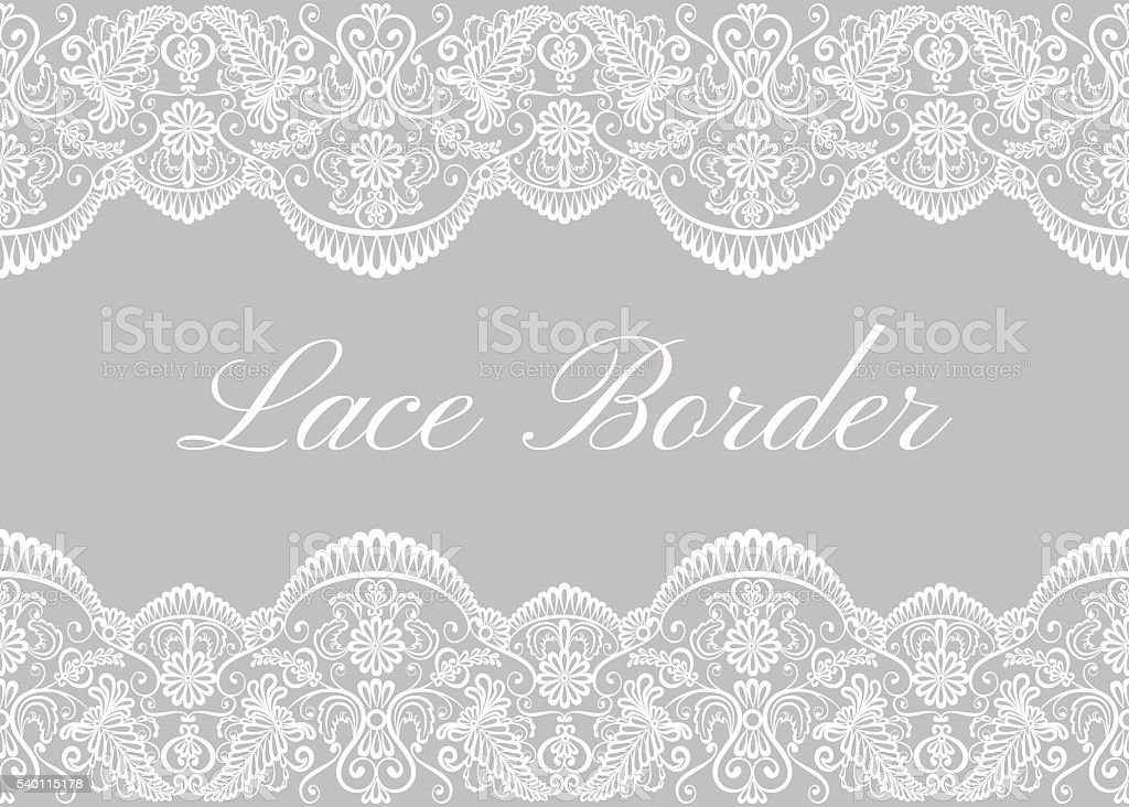 White lace borders vector art illustration