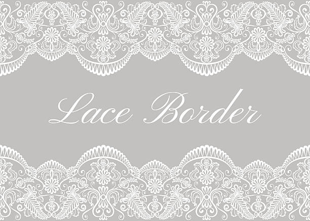 White lace borders White lace borders on gray background. Template for wedding or greeting card lace textile stock illustrations