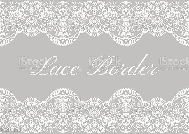 White lace borders on gray background. Template for wedding or greeting card