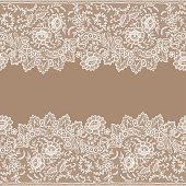 White Lace. Card. Horizontal Seamless Pattern.