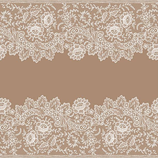 White Lace. Card. Horizontal Seamless Pattern. White Lace. Card. Horizontal Seamless Pattern. lace textile stock illustrations