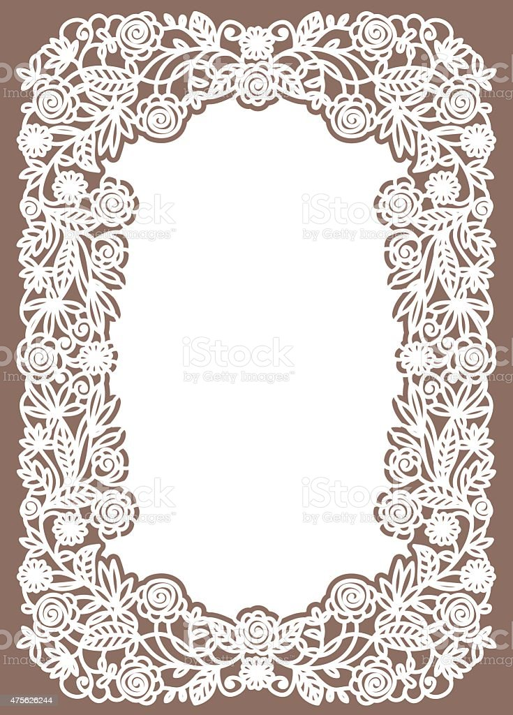White Lace Card. Pastel Colored Background. vector art illustration