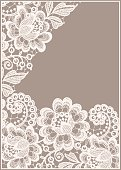 Lace Card. Pastel Colored Background.