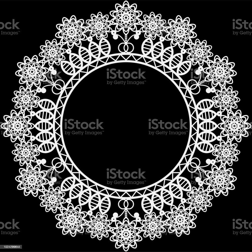 White Lace Doily Frame vector art illustration