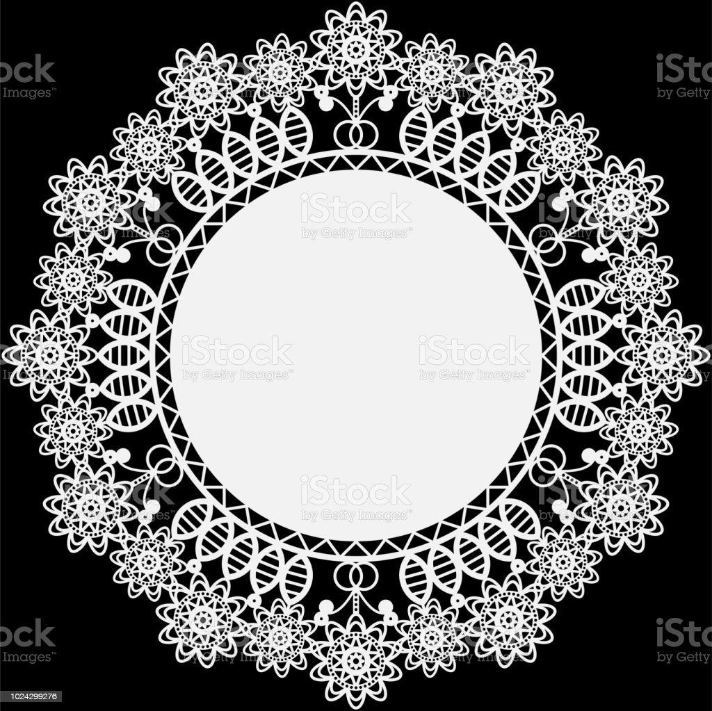 White Lace Doily vector art illustration