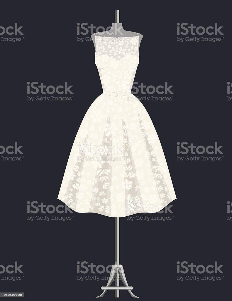 White Lace Dress vector art illustration