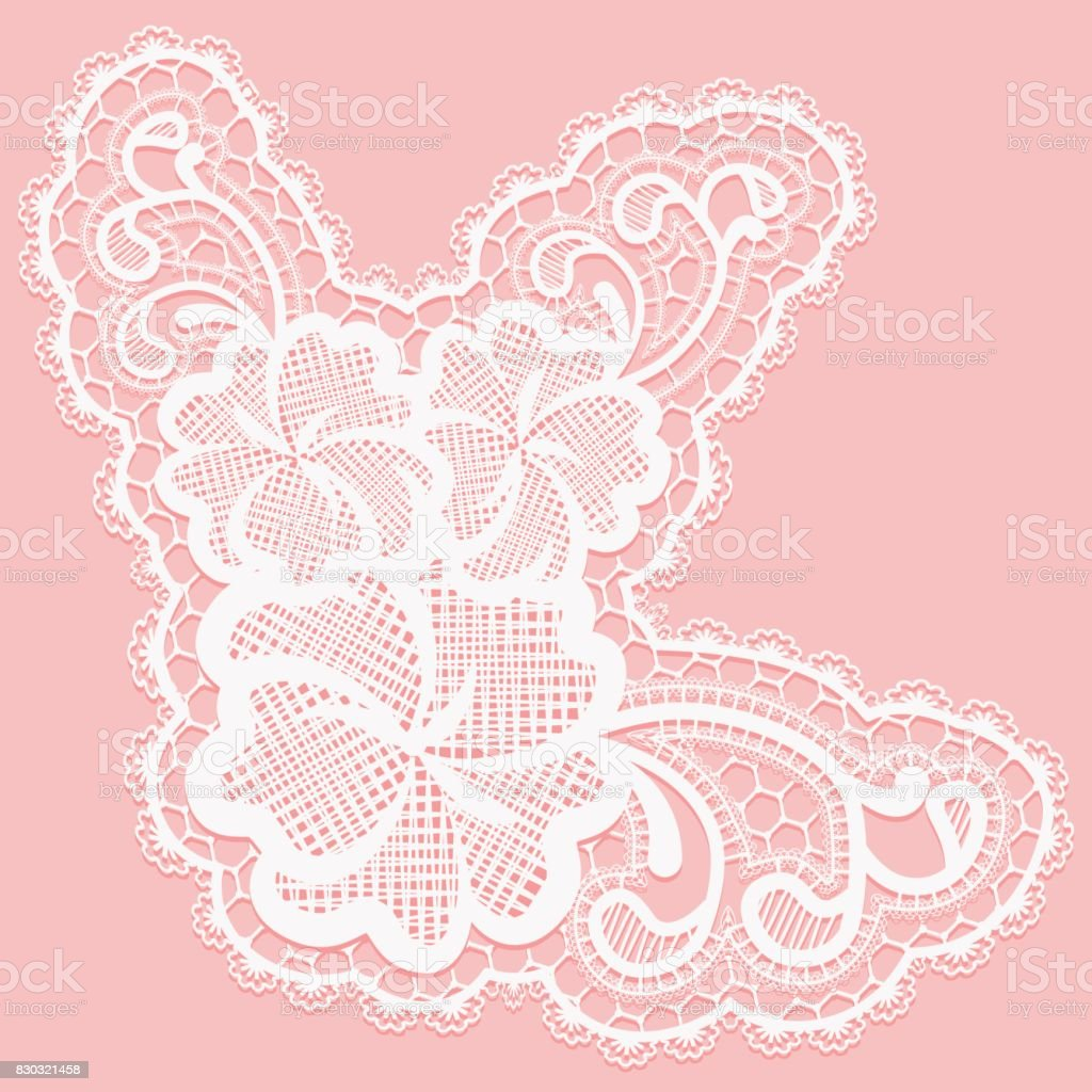 White Lace Flower For Decoration Of Cards And Invitations Stock