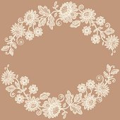 White Lace.  Flower Garland. Beige Background.