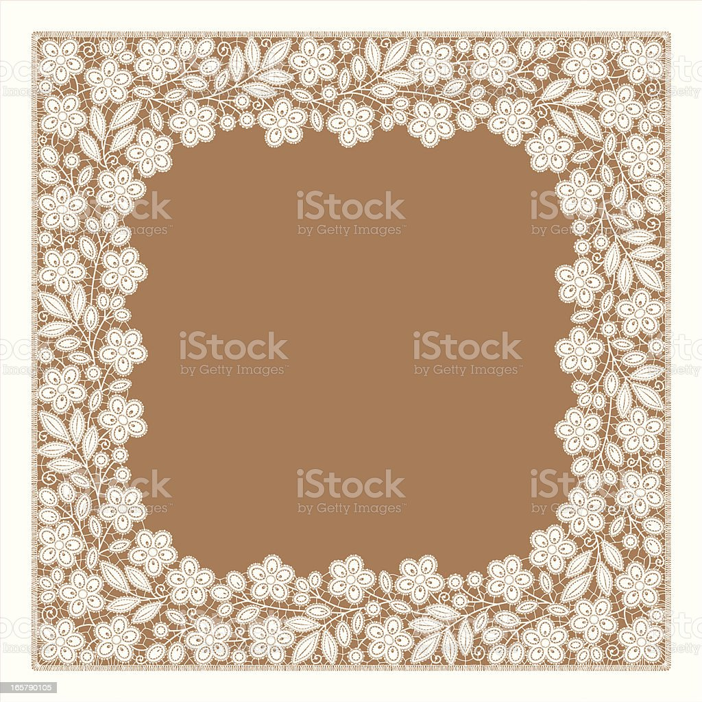 White Lace.  Foursquare Frame. Florall Pattern. royalty-free stock vector art