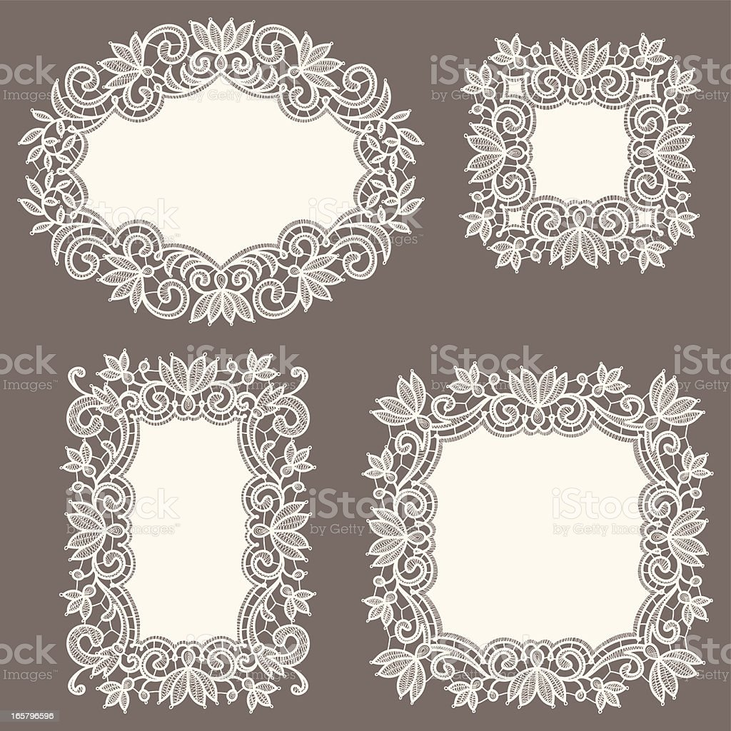 White Lace Frames. Set. royalty-free stock vector art