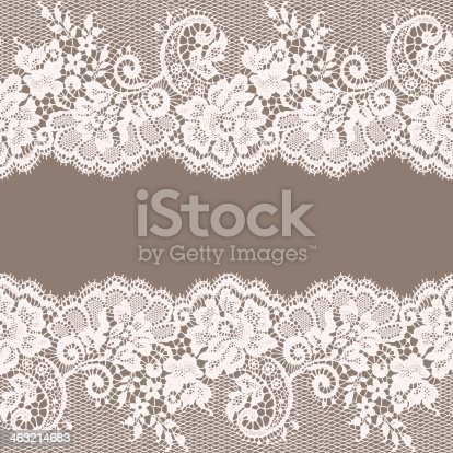 istock White Lace. Greeting Card. Gray Background. 463214683