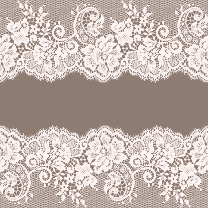 White Lace. Greeting Card. Gray Background.