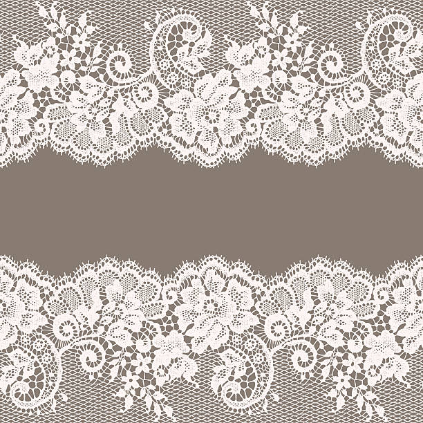 White Lace. Greeting Card. Gray Background. vector art illustration