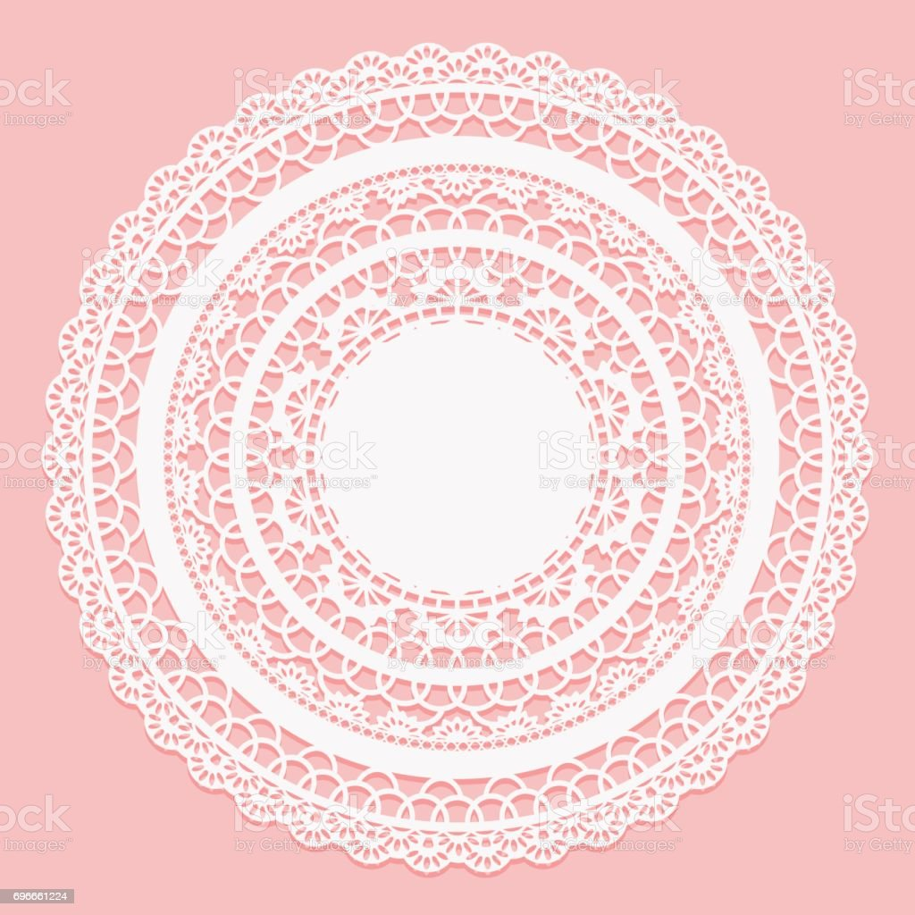 White lace napkin on a pink background. Openwork round frame. vector art illustration