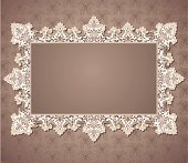 White Lace Rectangle Frame