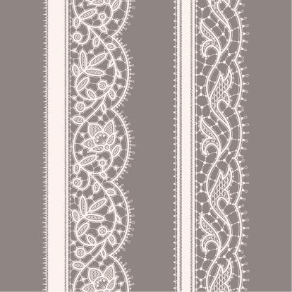 White Lace Ribbon. Seamless Pattern. Gray Background. Set.