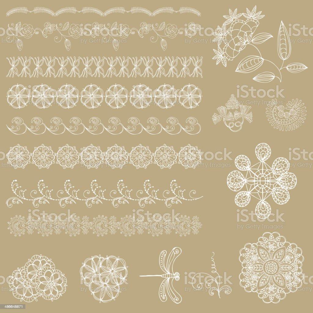 Ilustración de Blanco Cintas De Encaje Vector Diseños y más banco de ...