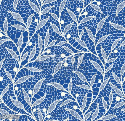 istock White Lace Seamless Pattern. Floral Pattern Blue Background. 457729021