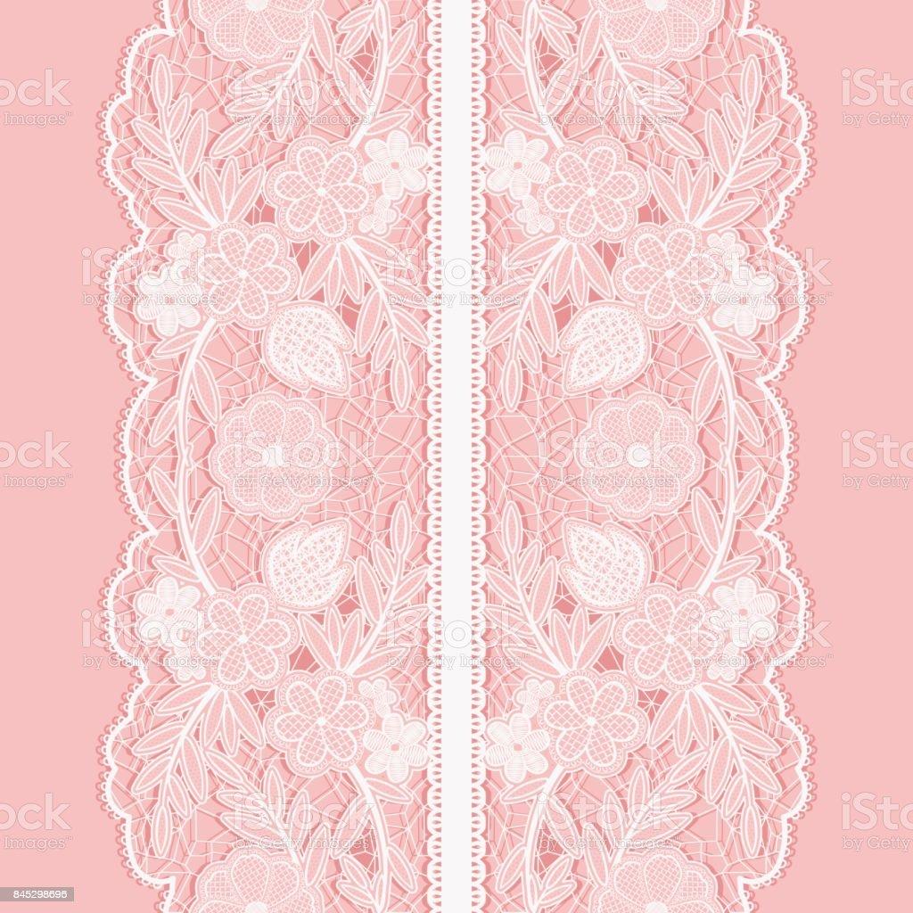 Patrón transparente de encaje blanco de cinta floral vertical amplia. - ilustración de arte vectorial