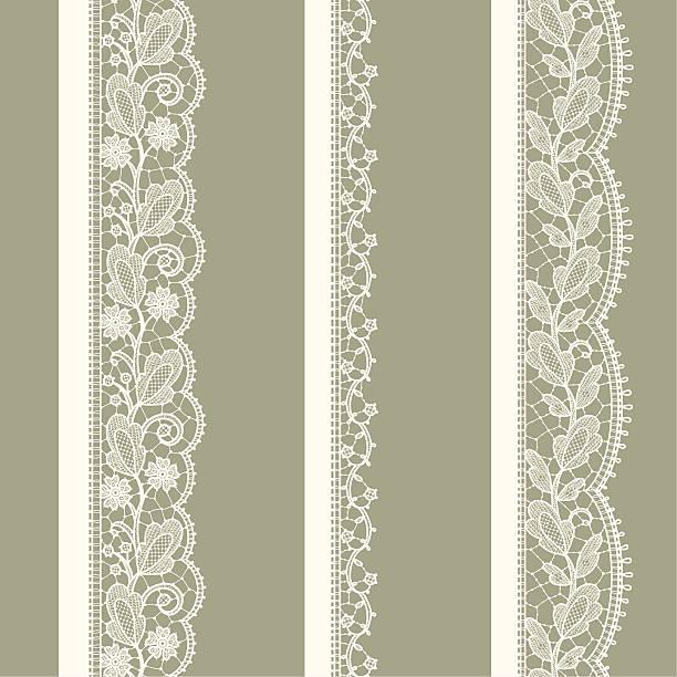 ilustrações, clipart, desenhos animados e ícones de branco lace. padrão sem emendas verticais. - bordas florais