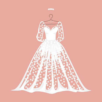 White lace wedding dress on a hanger