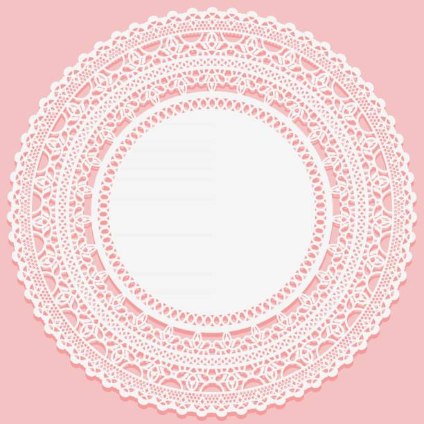 stockillustraties, clipart, cartoons en iconen met witte kanten servet op een roze achtergrond. opengewerkte ronde lace frame. - servet