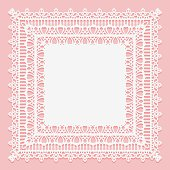 White lacy square napkin isolated on a pink background. Openwork lace frame.