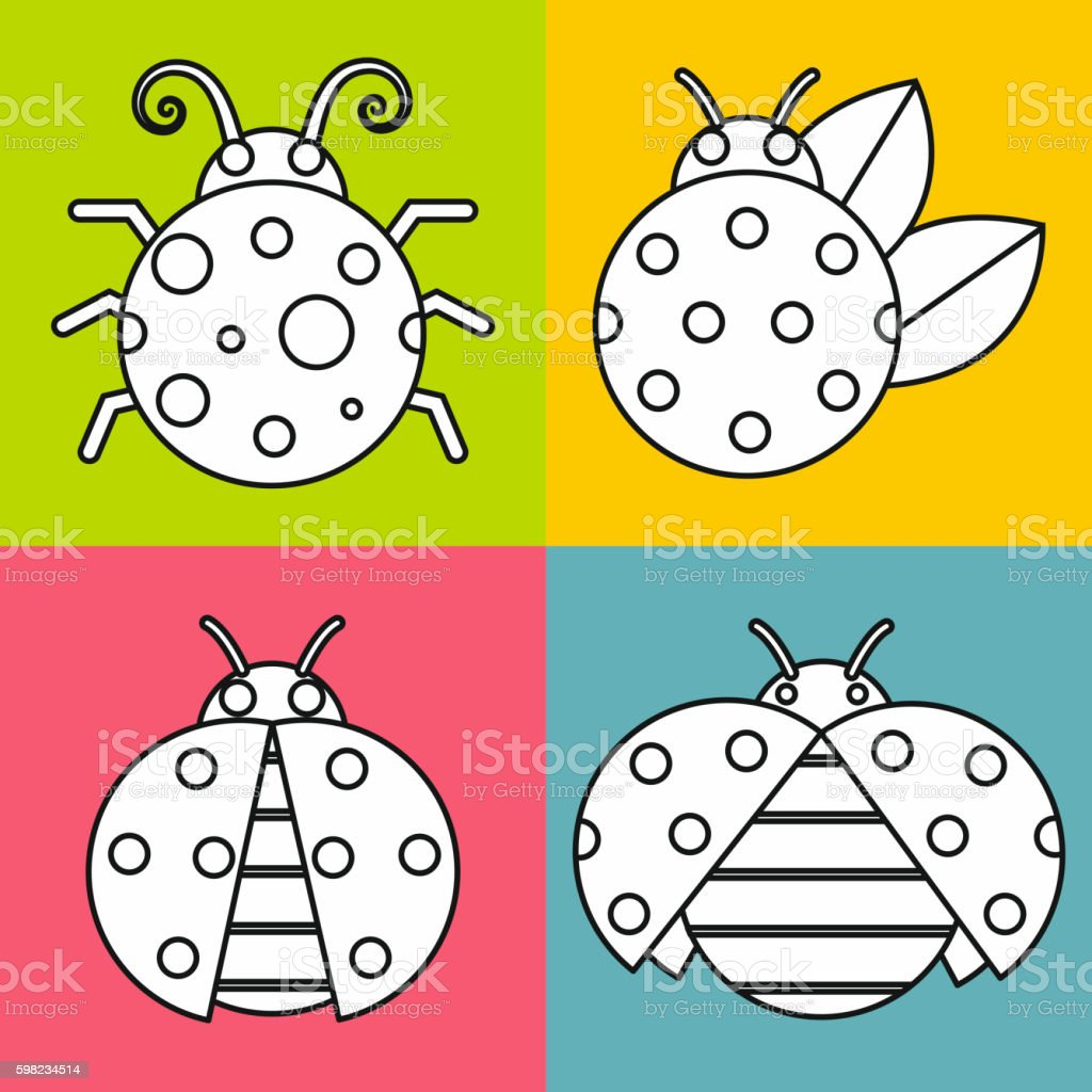White ladybugs with stroke on color background ilustração de white ladybugs with stroke on color background e mais banco de imagens de abelha royalty-free