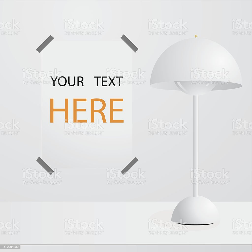 White lamp on table and poster on wall stock vector art 510064239 white lamp on table and poster on wall royalty free stock vector art geotapseo Image collections