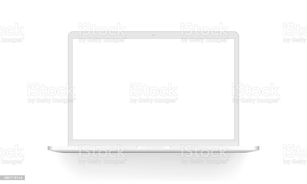 White laptop mock up isolated - arte vettoriale royalty-free di Aperto