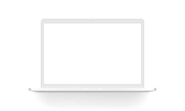 bildbanksillustrationer, clip art samt tecknat material och ikoner med vit dator mock upp isolerade - laptop