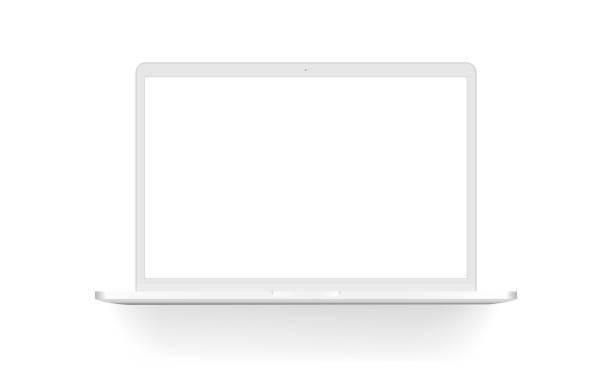 white laptop mock up isolated - белый stock illustrations