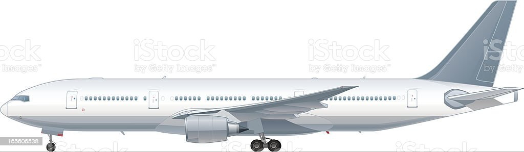 A white large passenger airplane vector art illustration