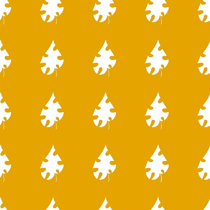 White leaves on goldenrod background simple seamless pattern vector