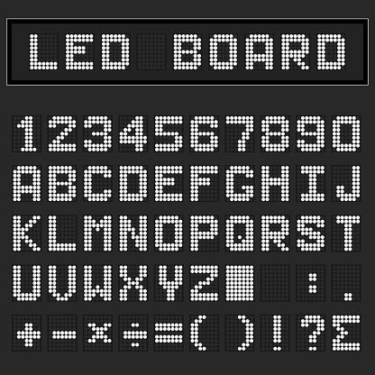 White LED digital english uppercase font, number and mathematics symbol display on black background