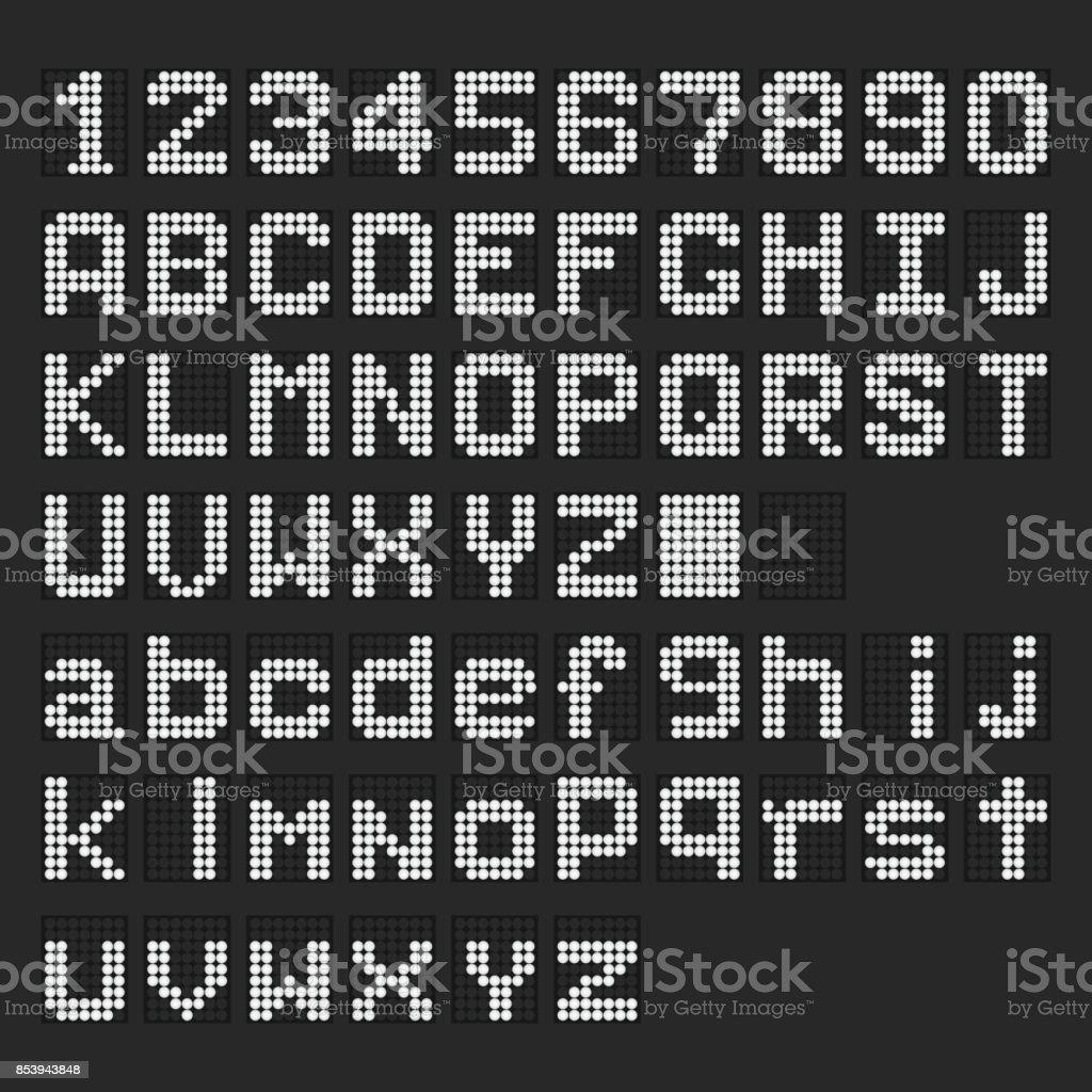 Weiße LED Digitale englischen Großbuchstaben, Kleinbuchstaben Schrift, Rufnummernanzeige auf schwarzem Hintergrund – Vektorgrafik