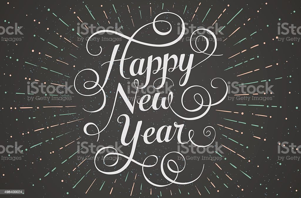 White lettering Happy New Year for greeting card on chalk vector art illustration