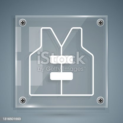 istock White Life jacket icon isolated on grey background. Life vest icon. Extreme sport. Sport equipment. Square glass panels. Vector 1316501553