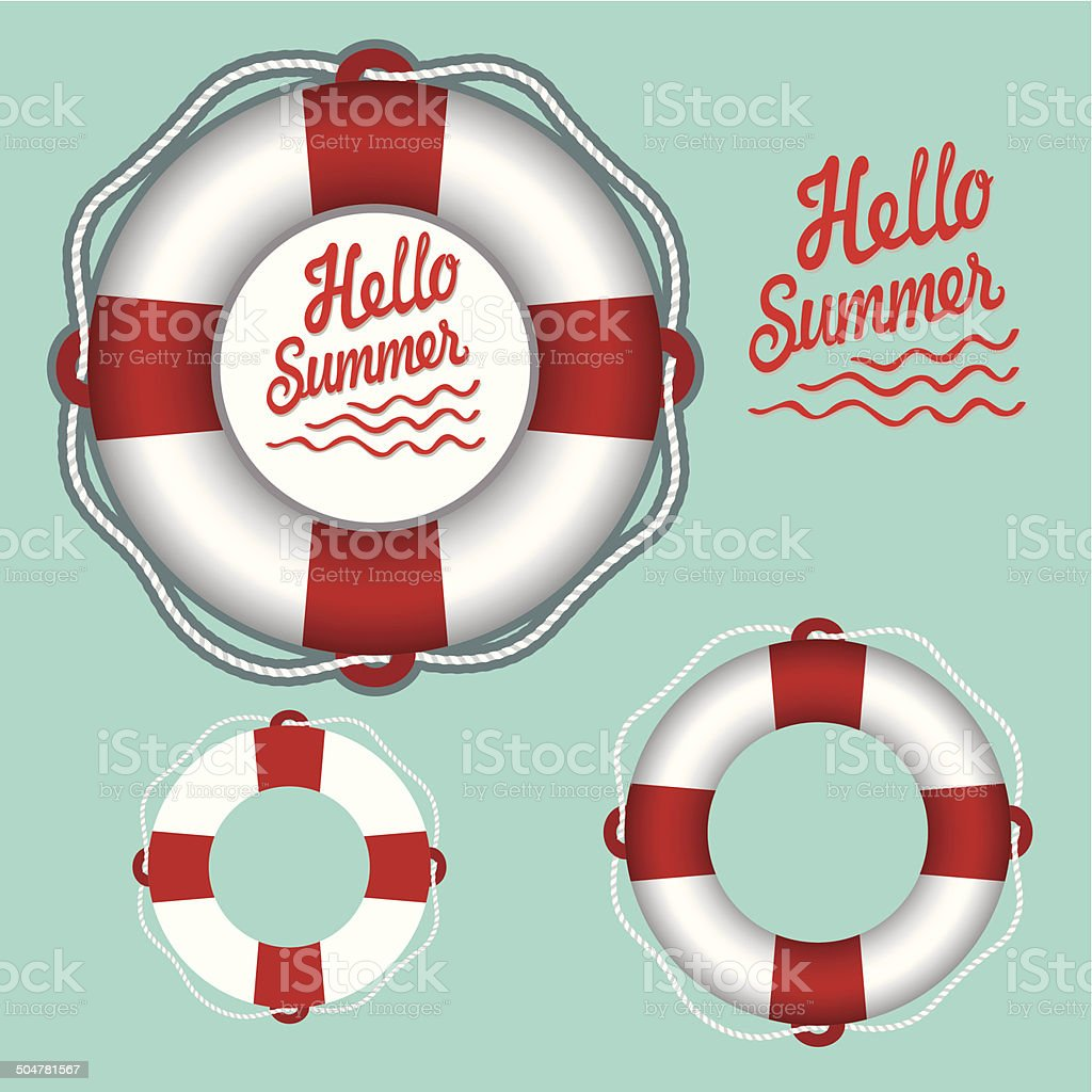 White lifebuoy with red stripes and rope.Vector set vector art illustration