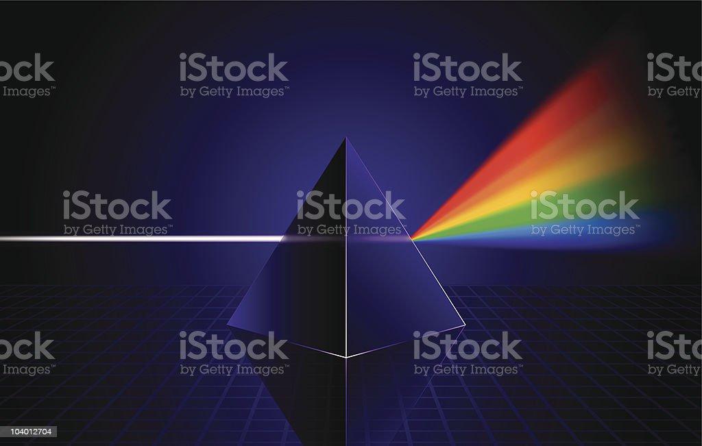 White light broken by prism vector art illustration