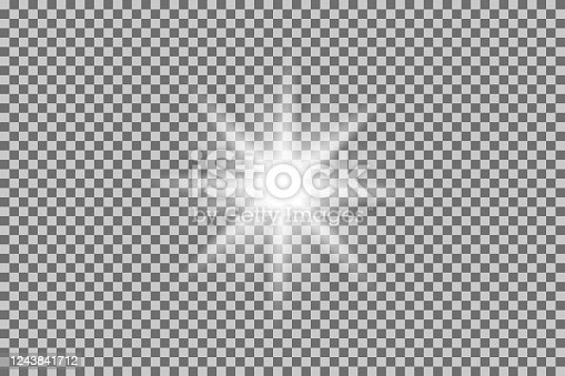 White light effect. Png shine glow isolated on tranaparent background. vector
