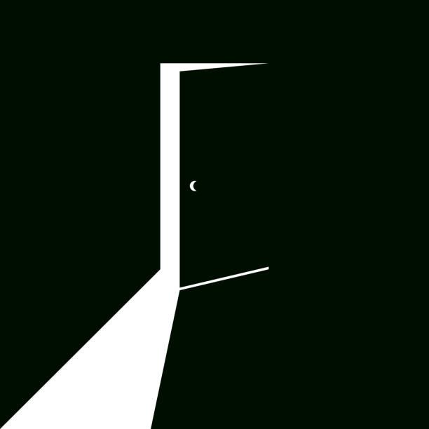 White light falling from slightly open door White light in form of crane falling from slightly opened door. inversion door stock illustrations