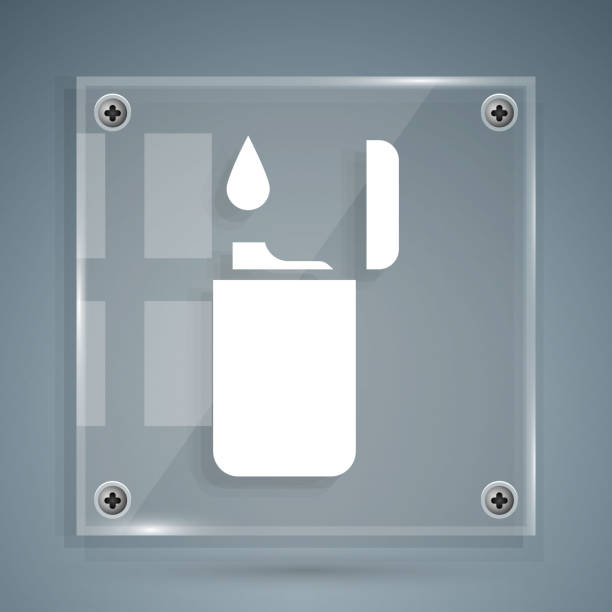 White Lighter icon isolated on grey background. Square glass panels. Vector Illustration White Lighter icon isolated on grey background. Square glass panels. Vector Illustration hot pockets stock illustrations