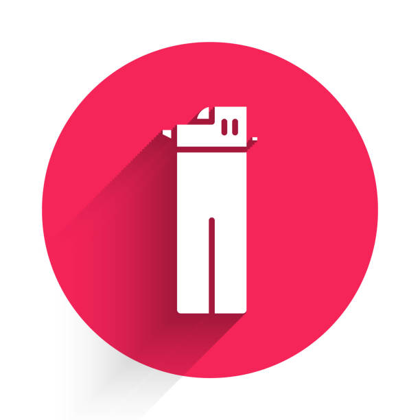 White Lighter icon isolated with long shadow. Red circle button. Vector Illustration White Lighter icon isolated with long shadow. Red circle button. Vector Illustration hot pockets stock illustrations