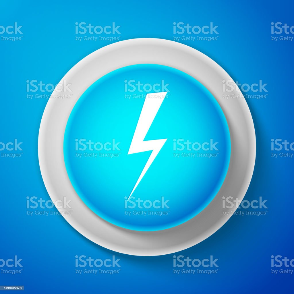 White Lightning Bolt Icon Isolated On Blue Background Flash Charge
