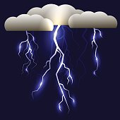 White Lightning Isolated on Blue Background for Your Design
